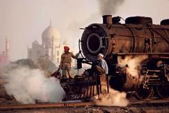 INDIA. Uttar Pradesh. Agra. 1983. Steam Train with Taj Mahal in the background.