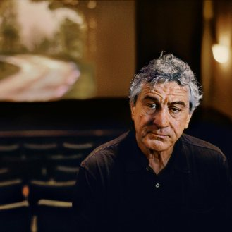 00735_08, 0735_08; Actor Robert De Niro in his screening room in Tribeca, Tribeca, New York, NYC, 2010, USA,